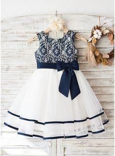 Vestidos princesa/ Formato A Decote redondo Coquetel Tule Renda Sem magas Vestidos de Menina das Flores Vestido de daminha