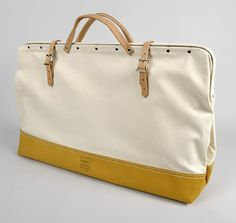 "24"" Canvas Mason Bag - Heritage Leather: #10 Cotton Canvas with moccasin leather bottom, handles and straps."