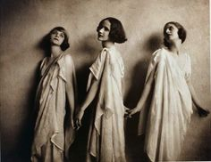 "Vionnet, as worn by Isadora Duncan.  Madeleine Vionnet believed that ""when a woman smiles, then her dress should smile too.""  Eschewing corsets, padding, stiffening, and anything that distorted the natural curves of a woman's body, her clothes were famous for accentuating the natural female form.  Influenced by the modern dances of Isadora Duncan, Vionnet created designs that showed off a women's natural shape.  Like Duncan, Vionnet was inspired by ancient Greek art, in which garments appear…"
