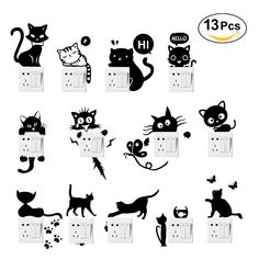 8,49€ /- oonii 13 PCS Autocollant mural, Sticker interrupteur PVC Créatif Imperméable Amovible Décorations Stickers Muraux Art Mural Wall Sticker, Mignon Humoristique Mode (Noir): Amazon.fr: Bricolage Creative Wall Painting, Wall Painting Decor, Diy Wall Art, Diy Painting, Bedroom Wall Designs, Wall Art Designs, Paint Designs, Stair Stickers, Wall Stickers