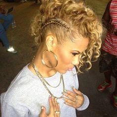 Side braid with drop down curls.