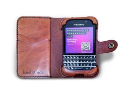 Blackberry Q10 Leather Wallet / Case / Cover - no plastic - Free Monogramming
