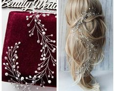 Long hair-vine Crystals hair-vine Bridal Wedding hair-vine Crystal  Hairpiece Bridal Hair Vine Pearl hair vine 64b38a00887e