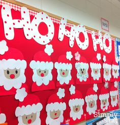 Christmas Bulletin Boards Santa - These are soo cute! Preschool Christmas, Noel Christmas, Christmas Activities, Christmas Themes, Origami Christmas, Preschool Bulletin, Classroom Crafts, Preschool Crafts, Crafts For Kids