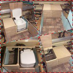 Pop up camper Apache Mesa toilet cabinet install