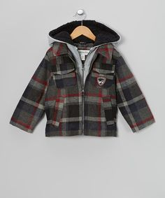 Take a look at this Gray Plaid Jacket - Boys by London Fog on #zulily today!