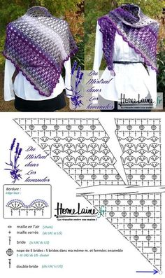 Crochet Patterns Poncho Shawl 'The mistral in the lavender' in 'Pacific Lace' Poncho Au Crochet, Crochet Shawl Diagram, Pull Crochet, Crochet Gloves Pattern, Crochet Poncho Patterns, Crochet Shawls And Wraps, Shawl Patterns, Crochet Scarves, Crochet Clothes