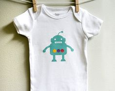 Baby boy onesie robot teal blue Short by squarepaisleydesign, $13.00