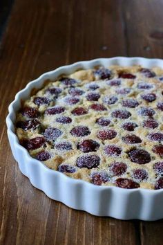 Clafoutis is a delicious traditional French dessert that is similar to a flan wi., Desserts, Clafoutis is a delicious traditional French dessert that is similar to a flan with cherries that originates from the Limousin region. Buttermilk Recipes, Blueberry Recipes, Fruit Recipes, Desert Recipes, Baking Recipes, Cherry Cake Recipe, Apple Tart Recipe, Flan, Desserts Français