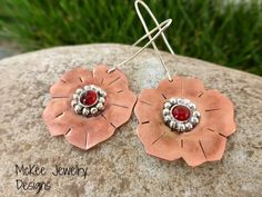 Copper and Sterling silver metal with gemstone flower earrings. McKee Jewelry Designs