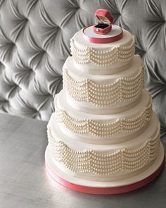 Pearl-inspired wedding cake from Martha Stewart Weddings — would be amazing for a jewelry-themed shower. Love the ring box cake topper! Beautiful Wedding Cakes, Beautiful Cakes, Amazing Cakes, Wedding Cake Pearls, Cake Wedding, Wedding Ring, Engagement Cakes, Engagement Ring, Martha Stewart Weddings