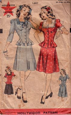 Sewing Pattern Vintage Hollywood 1481 Skirt and Top, circa 30s or 40s