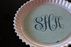 She's {kinda} Crafty: DIY {Cake} Plate Cover--How to make a monogram with PowerPoint