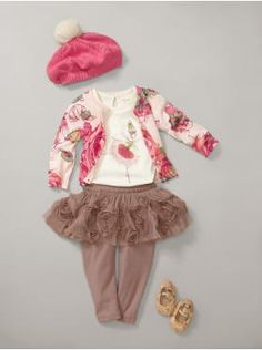 Love that the rosette skirt comes in brown, love the delicate ballerina fairy and the rose cardigan.