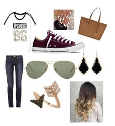"""Untitled #33"" by gracie-mccollough on Polyvore featuring Victoria's Secret, Tory Burch, Converse, Ray-Ban, Michael Kors, Kendra Scott and Bee Goddess"