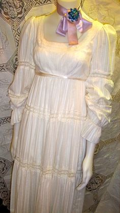 Beautiful Vintage 70s Tiered Cotton and Lace Fall by BigBerthas, $300.00