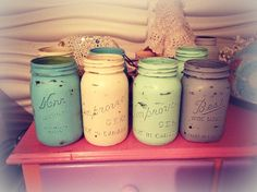 Mason jars painted with FAT Paint, Cottage Paint and spray paint.