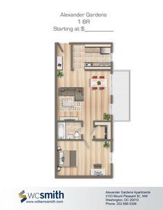 Trendy Apartment Rental Bedroom Floor Trendy Apartment Rental Bedroom Floor Plans One Bedroom Floor Plan Small Apartment Plans, Apartment Floor Plans, Bedroom Floor Plans, Apartment Layout, One Bedroom Apartment, House Floor Plans, Studio Apartment, The Plan, How To Plan