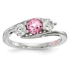 Sterling Silver White & Pink Genuine Topaz by Swarovski 'Sue' Ring
