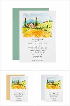 Countryside Wedding, Watercolor Wedding Invitations, Wedding Suits, Wedding Ceremony, Destination Wedding, Rustic, Country Primitive, Wedding Outfits, Rustic Feel