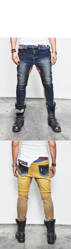 Bottoms :: Pants :: Uber-cool Funky Contrast Semi-baggy-Jeans 153 - Mens Fashion Clothing For An Attractive Guy Look