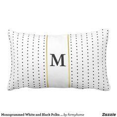 Monogrammed White and Black Polka Dot Pattern Lumbar Pillow #pillow #blackandwhite #homedecor