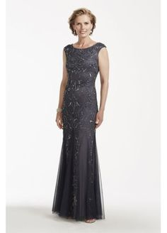 Cap Sleeve Beaded Gown with Scoop Back