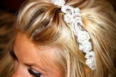 LACE HEADBAND, Bridal Lace Headpiece, Bridal Headbands by LasVegasVeils. $42.00, via Etsy.