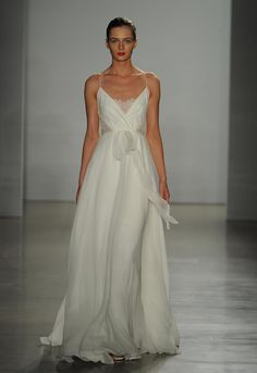 Christos Fall 2016 silk chiffon wedding dress with sheer lace panel bodice | https://www.theknot.com/content/christos-wedding-dresses-bridal-fashion-week-fall-2016