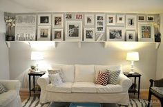 love the idea of the shelf with under-cabinet lights over the couch