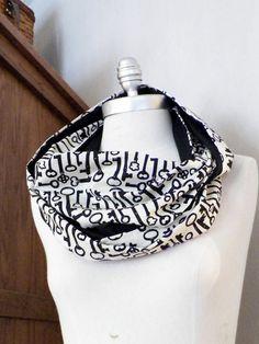 Skeleton Key Black and Cream 100% Cotton Fabric Loop Scarf  by jamiesierraknits, $20.00
