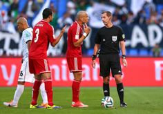 Referee Mark Geiger after conceding a penalty during the FIFA Club World Cup 5th place match between Al Ahly SC and CF Monterrey at the Marr...