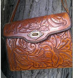 Vintage 1950s Mexican Leather Hand Tooled Boho Rose Purse With Tortoise Shell