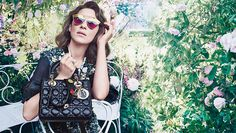 French actress Marion Cotillard returns to Dior as the face of the brand's newest Lady Dior ad campaign. Marion was photographed wearing colorful floral Marion Cotillard, Sac Lady Dior, Dior So Real Sunglasses, Dior Handbags, French Actress, Couture, Replica Handbags, French Fashion, Fashion 2017