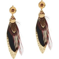 Gas Bijoux Women's Sao Feather Earrings ($115) ❤ liked on Polyvore featuring jewelry, earrings, multi, charm earrings, etched jewelry, feather charm, gas bijoux and gold plated jewelry
