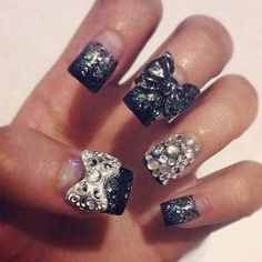 Acrylic Nails With Rhinestones | Acrylicnails. Clear base w/ black glitter gradient tips, glitters …