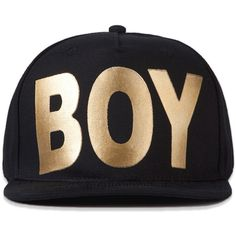 b0ec630ac303e BOY Black Gold Boy London Snapback ( 53) ❤ liked on Polyvore featuring  accessories