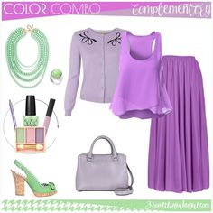 Here is the first outfit idea with the #purple and #green complementary color combo. I think it's best for a summer night movie or drinking 🍷 or 🍸with friends.  The colors fit well for Light or Cool Summer seasonal color women. // Would you wear this set? Tell me in a comment 🙂