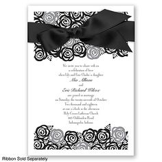 Just Rosey - Black - Invitation   Invitations By David's Bridal