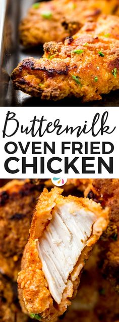 The BEST Crispy Buttermilk Oven Fried Chicken: You won't be disappointed by this recipe! Made using a simple technique, this chicken gets so crispy in the oven - it's hard to believe it isn't deep fried! It's easy to make and way less messy than the traditional way - no greasy stove to clean! This is the healthy way to indulge in crispy fried chicken, a great dinner everyone will love. Works with tenders, chicken breast or even wings and drumsticks. | #recipes #easydinner #easyrecipes…