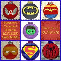 7 Superhero Inspired Felt Ornament Bundle Pkg Machine Embroidery Design DIGITAL DOWNLOAD - 4X4 Hoop or Larger