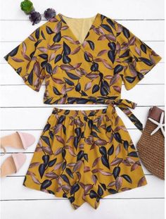 Leaves Print Cropped Wrap Top And High Waisted Lined Shorts