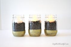 DIY Coffee Bean Candles - Simply add coffee beans to a mason jar and pop in a tea candle. The heat from the candle will release the coffee scent and make your home smell amazing.