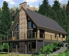 Architectural Designs A-Frame house plan 67711MG has a beautiful wrap-around deck to soak up the scenery: http://www.architecturaldesigns.com/house-plan-67711MG.asp