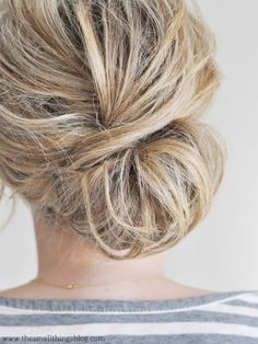 Tons of easy to follow hair tutorials on  The Small Things Blog: Low Chignon Hair Tutorial