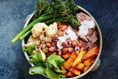 Lamb, roasted cauliflower and broccolini bowl