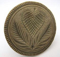 Antique 19th Century Carved Wood Butter Print Stamp Mold With Heart & Leaves  Attic Fresh ~ Originally From Southeastern PA