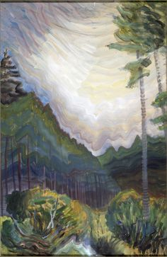 Chill Day In June by Emily Carr Handmade oil painting reproduction on canvas for sale,We can offer Framed art,Wall Art,Gallery Wrap and Stretched Canvas,Choose from multiple sizes and frames at discount price. Tom Thomson, Canadian Painters, Canadian Artists, Landscape Art, Landscape Paintings, Landscapes, Small Paintings, Emily Carr Paintings, Impressionist Paintings
