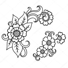 Set of Mehndi flower pattern for Henna drawing and tattoo. Decoration in ethnic oriental, Indian style. Henna Tattoo Designs, Flower Tattoo Designs, Flower Tattoos, Floral Embroidery Patterns, Flower Patterns, Gold Embroidery, Learn To Tattoo, Mehndi Flower, Henna Drawings