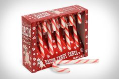 """Why not get some Bacon Candy Canes ($5) instead of the traditional kind? They look the same, but taste like bacon, which means they'll go down a lot easier with all the beer you'll be drinking. Just make sure you don't get them mixed up — because nothing says """"Happy Holidays"""" like a peppermint Grolsch. And by """"Happy Holidays"""", we mean """"sorry for puking on your dog""""."""
